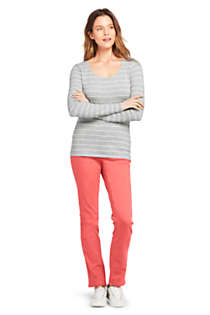 Women's Lightweight Fitted Long Sleeve Scoop Neck T-Shirt Stripe, Unknown