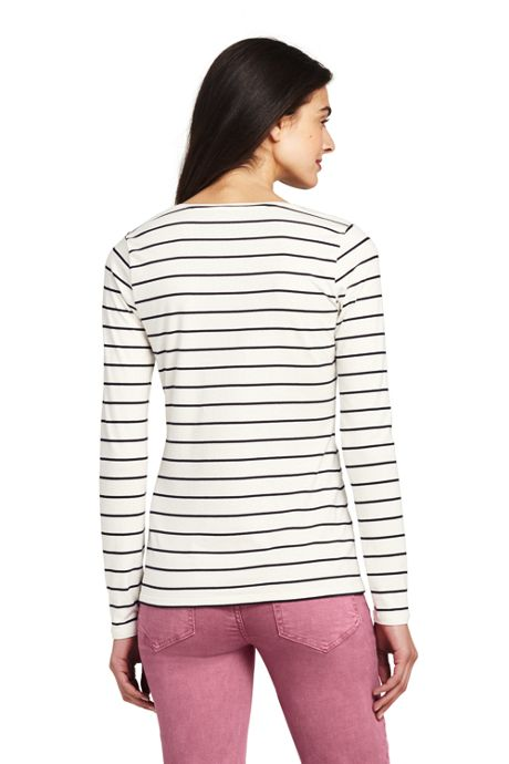 Women's Tall Lightweight Fitted Long Sleeve Scoop Neck T-Shirt Stripe