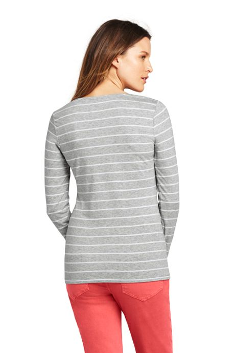 Women's Lightweight Fitted Long Sleeve Scoop Neck T-Shirt Stripe