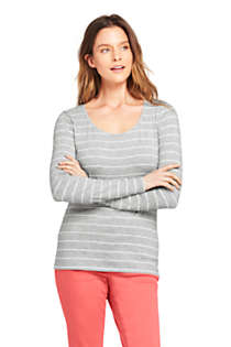 Women's Lightweight Fitted Long Sleeve Scoop Neck T-Shirt Stripe, Front