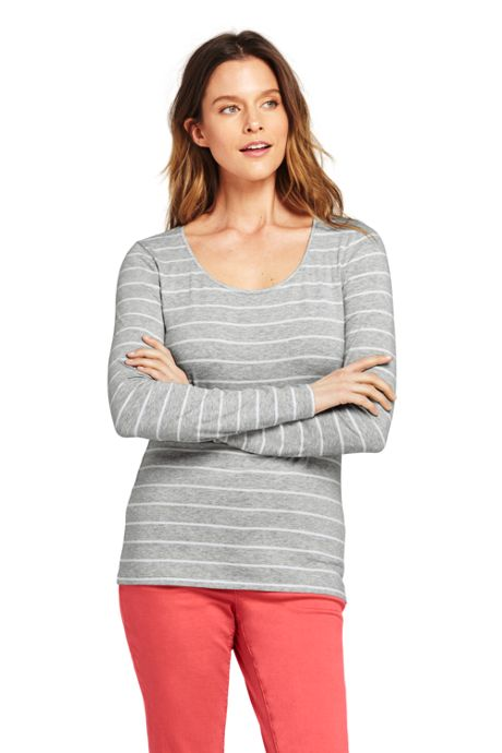 Women's Petite Shaped Long Sleeve T-shirt Scoop Neck