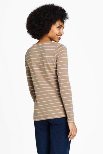 Women's Tall Lightweight Fitted Long Sleeve Scoop Neck T-Shirt Stripe