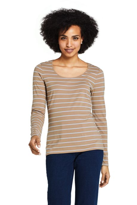 Women's Petite Lightweight Fitted Long Sleeve Scoop Neck T-Shirt Stripe