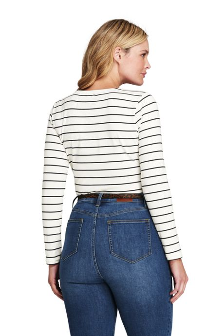 Women's Plus Size Shaped Long Sleeve T-shirt Scoop Neck