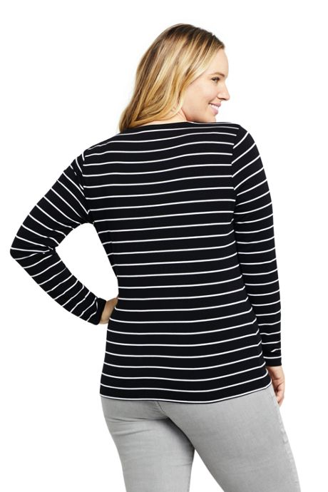 Women's Plus Size Lightweight Fitted Long Sleeve Scoop Neck T-Shirt Stripe