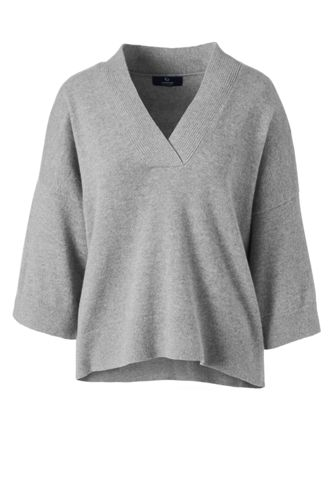 bdb79e0e71f1 Kurzer Kaschmir-Pullover mit 3 4-Ärmeln für Damen in Normalgröße
