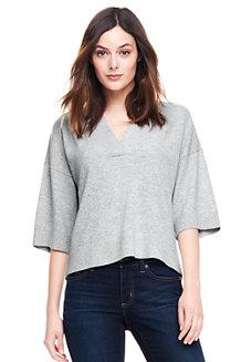 Kurzer Kaschmir-Pullover mit 3/4-Ärmeln für Damen