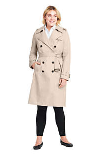 Women's Plus Size Cotton Long Trench Coat, Unknown