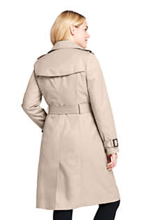Women's Plus Size Cotton Long Trench Coat, Back