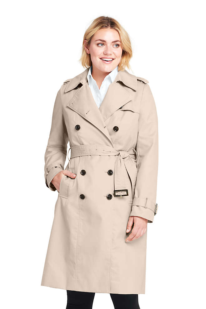 Women's Plus Size Cotton Long Trench Coat, Front