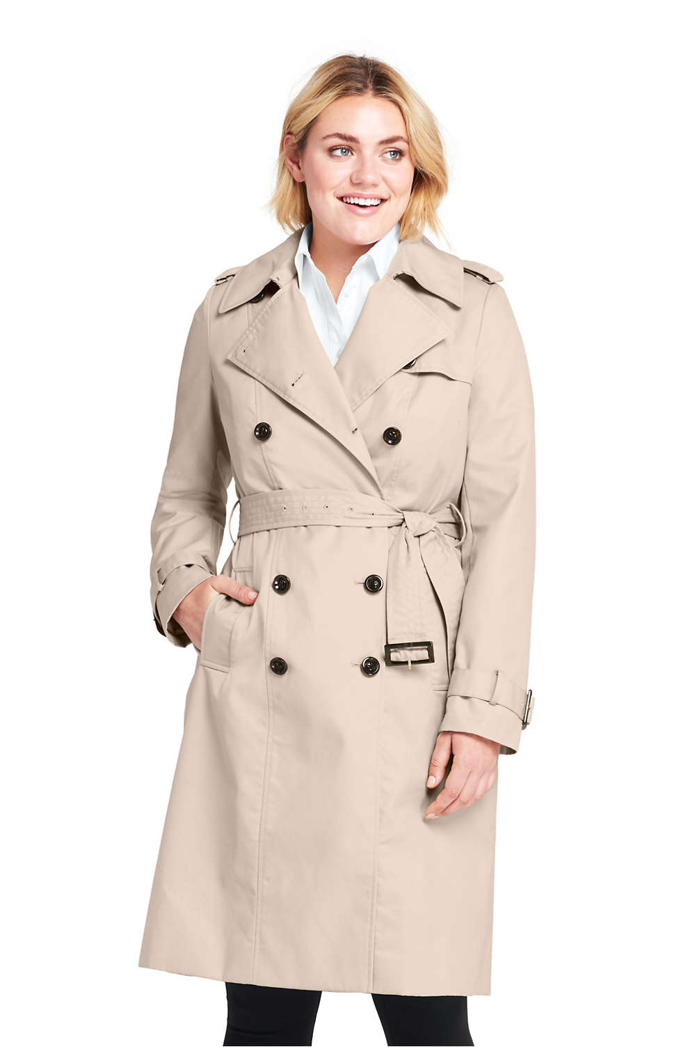 6246c8221e3 Women s Plus Size Cotton Long Trench Coat from Lands  End
