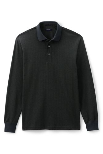 Le Polo Supima Herringbone à Manches Longues, Homme Stature Standard