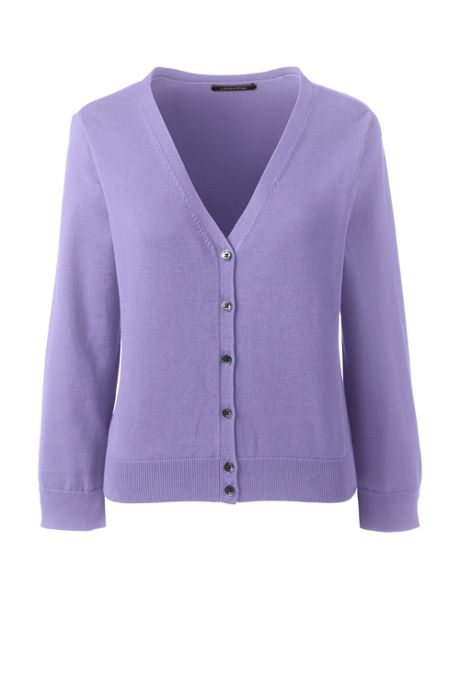 Women's Tall 3/4 Sleeve Supima Cardigan Sweater