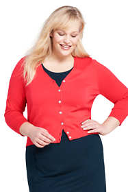 Women's Plus Size 3/4 Sleeve Supima Cardigan Sweater