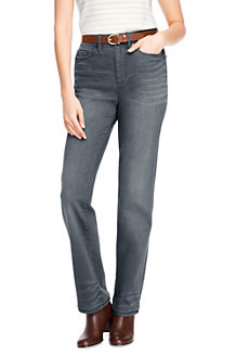 Womens True-Straight Gunmetal Grey Jeans - 10 30 - Grey Lands End Low Price Cheap Online New Arrival Cheap Buy BbqLoZ