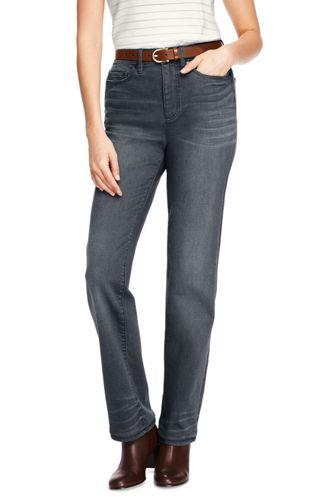 Le Jean Droit Gris Taille Haute Stretch, Femme Stature Standard