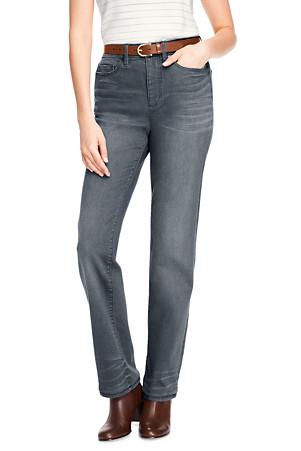3896dea72ee62 Taillenhohe Straight Jeans in Grau für Damen