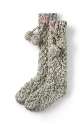 Handgestrickte Kuschel-Socken mit Waffelstruktur für Damen