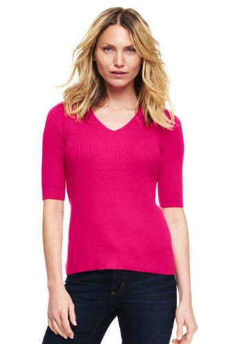 Women's Cotton Elbow Sleeve Rib V-neck Sweater from Lands' End
