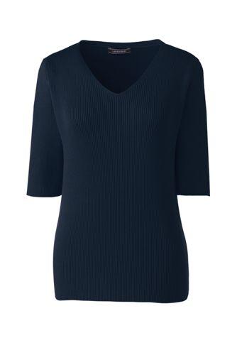 Le Pull Col V Manches aux Coudes en Coton Peigné, Femme Stature Standard