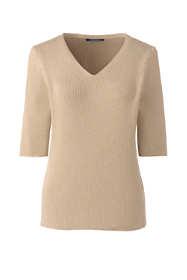 Women's Cotton Elbow Sleeve Rib V-neck Sweater