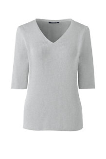 Women's Elbow Sleeve Rib Textured V-neck Jumper