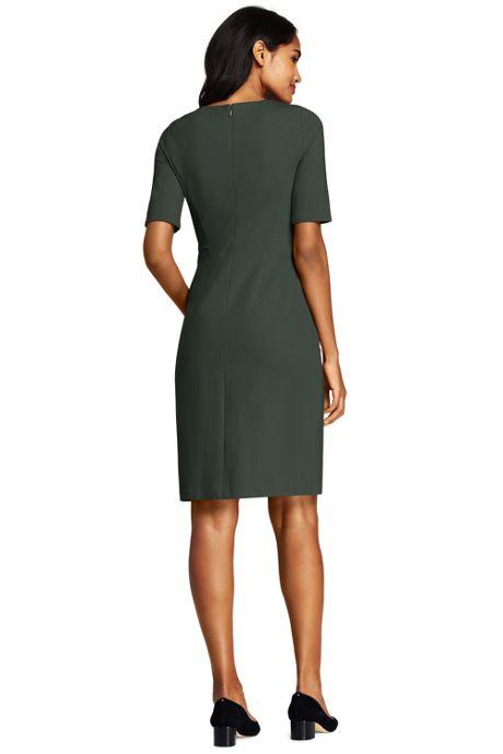 Women's Petite Ponte Knit Sheath Dress with Elbow Sleeves