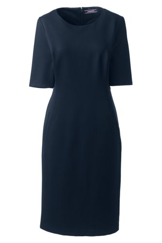 Women's Elbow Sleeve Ponte Jersey Shift Dress