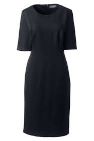 Women's Plus Size Ponte Knit Sheath Dress with Elbow Sleeves