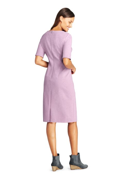 Women's Petite Ponte Knit Short Sleeve Sheath Dress