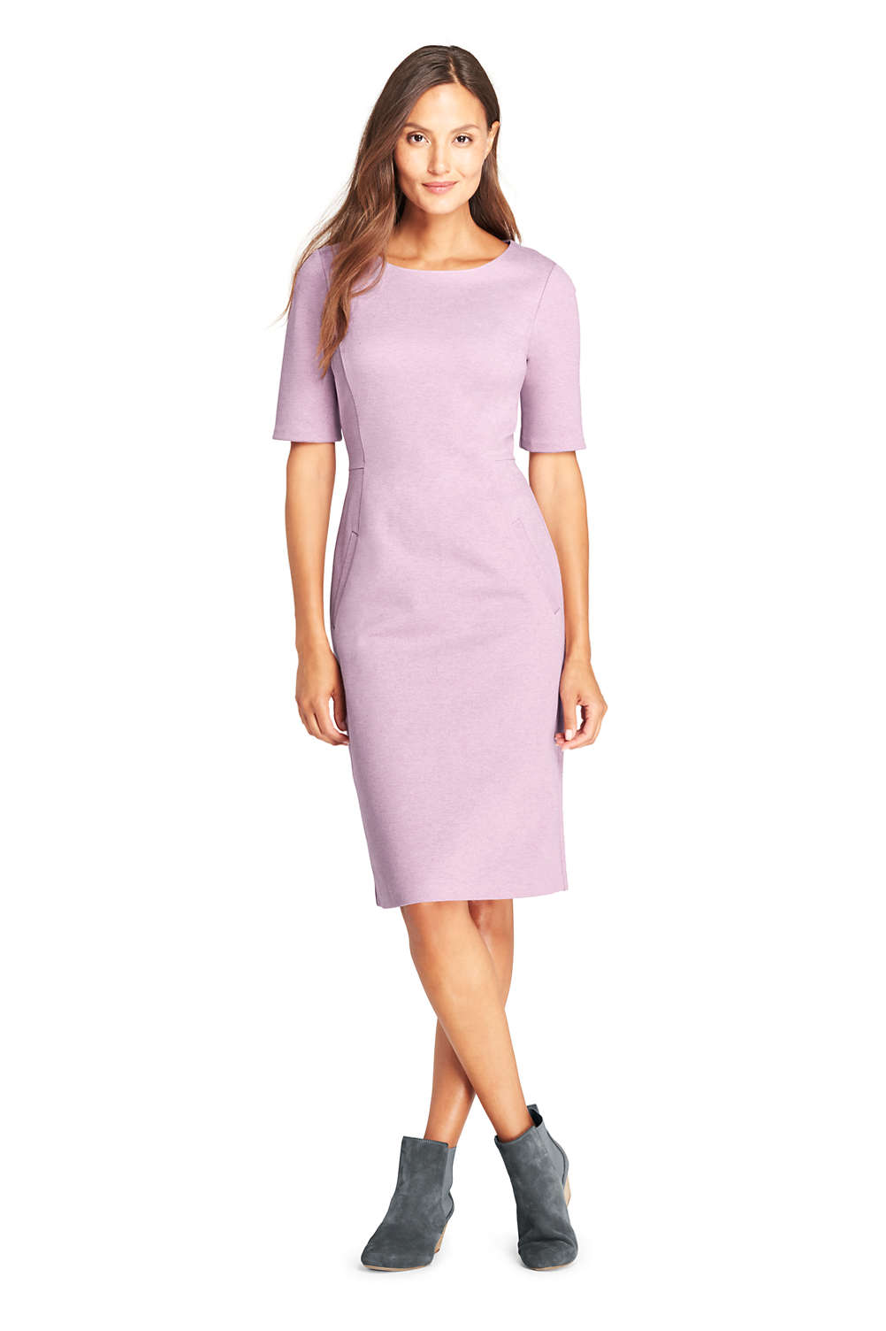 6de1b88316f Women's Ponte Knit Sheath Dress with Elbow Sleeves from Lands' End