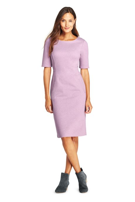 Women's Ponte Knit Sheath Dress with Elbow Sleeves