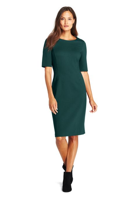 Women's Petite Ponte Knit Sheath Dress with Elbow Sleeves