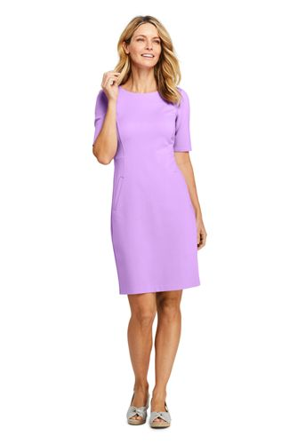Women's 3/4 Sleeve Matte Jersey A-line Dress