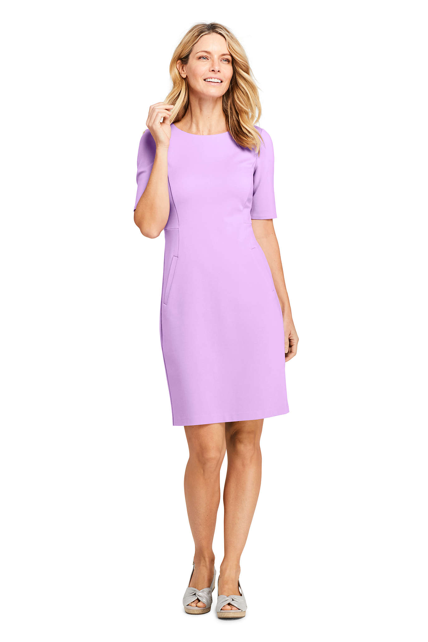 Women's Ponte 3/4 Sleeve Notch Neck Dress