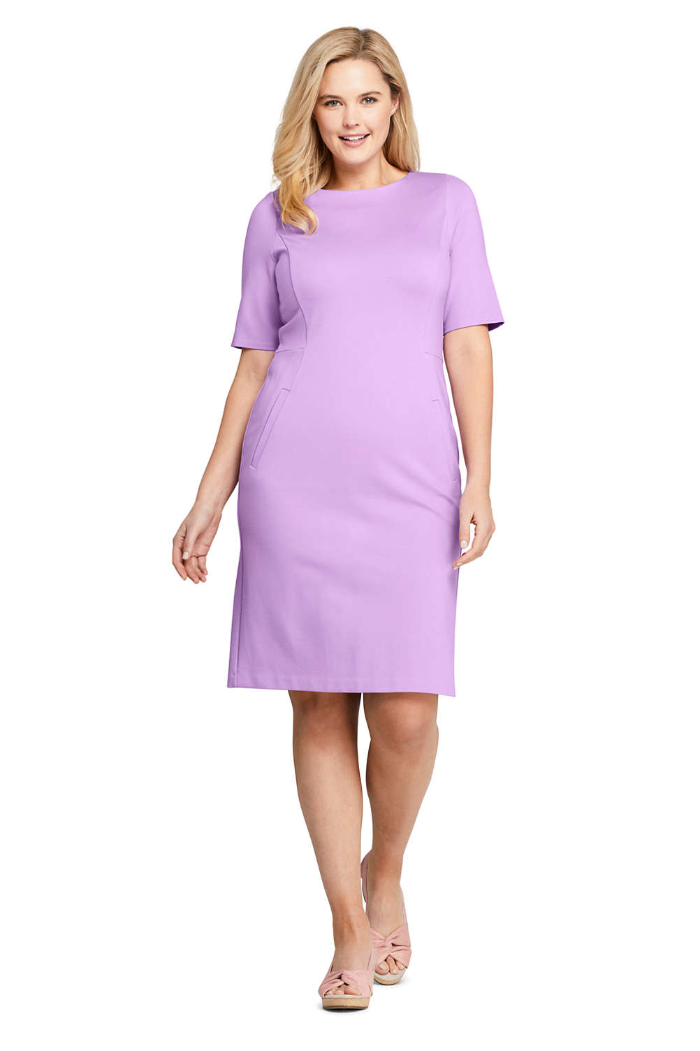 b023766c Women's Plus Size Ponte Knit Sheath Dress with Elbow Sleeves from Lands' End