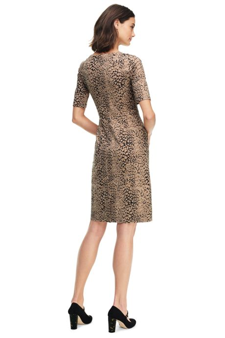 Women's Petite Elbow Sleeve Ponte Sheath Dress