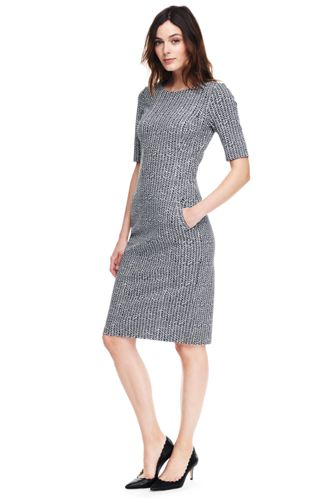 Womens Plus Elbow Sleeve Ponte Jersey Shift Dress - 20 - RED Lands End UUEBul9VC