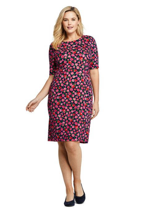 Women's Plus Size Elbow Sleeve Ponte Sheath Dress
