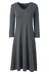 Women's Petite Elbow Sleeve Supima Fit and Flare Dress