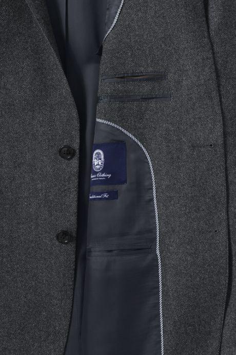 Men's Traditional Fit Wool Herringbone Suit Jacket