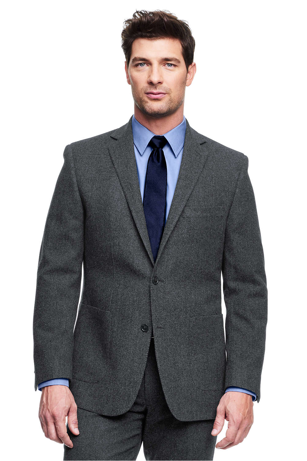 6d3ccdd040c Men s Traditional Fit Wool Herringbone Flannel Sportcoat from Lands  End