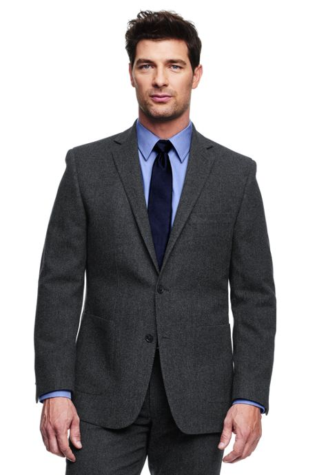 Men's Traditional Fit Wool Herringbone Suit Jacket