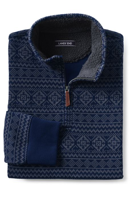 Men's Tall Sherpa Collar Pattern Bedford Rib Quarter-Zip Mock Pullover