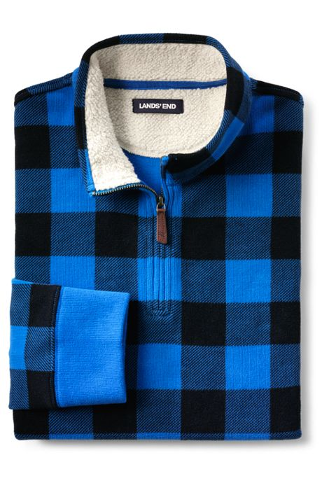 Men's Sherpa Collar Pattern Bedford Rib Quarter Zip Mock Pullover