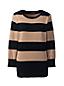 レディス・スーピマ・ファインゲージ・オープンクルーネック・セーター/ストライプ/七分袖