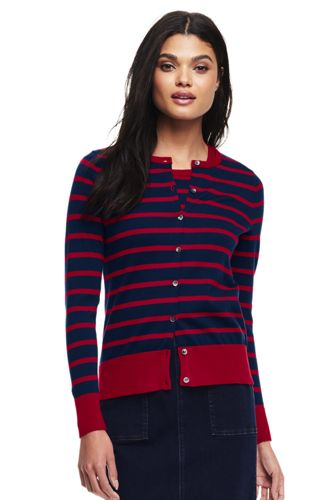 Le Cardigan Fines Mailles Supima Rayures Moyennes, Femme Stature Standard