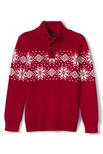 Boys Placed Snowflake Fair Isle Button Mock Sweater from Lands' End