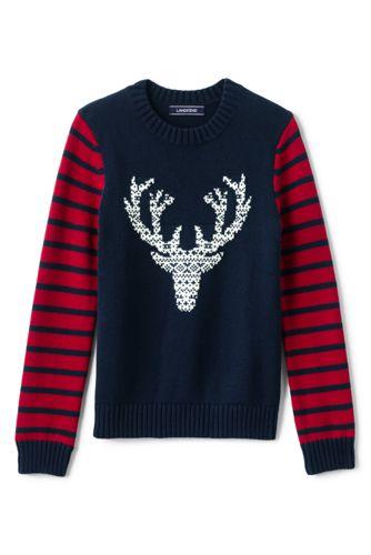 Boys Fair Isle Deer Intarsia Crewneck Sweater from Lands' End