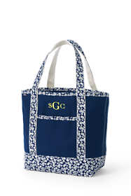 Medium Print Handle Open Top Canvas Tote Bag